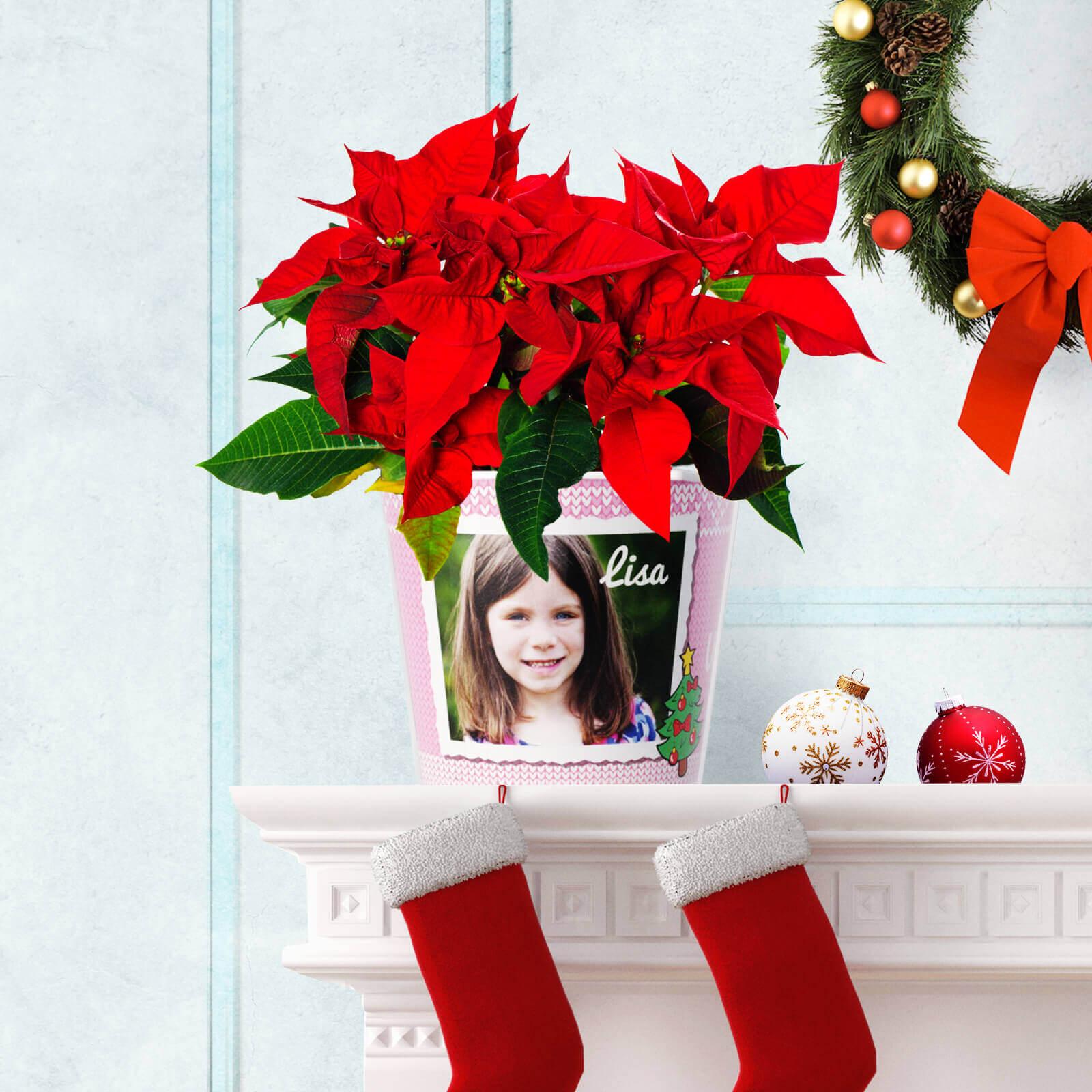 Blumentopf Geschenk zu Weihnachten Erzieherin mit 2 Fotos