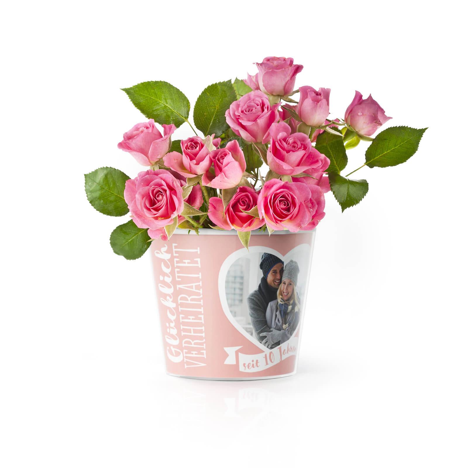 10 Hochzeitstag Rosenhochzeit Blumentopf Von Myfacepot